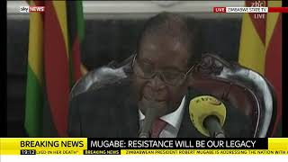 Robert Mugabe refuses to resign - SKYNEWS