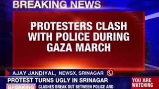 Violence during Gaza protest march in Srinagar - NEWSXLIVE