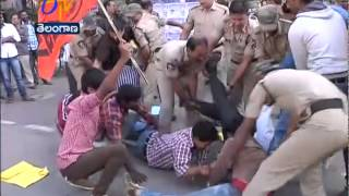 ABVP Activists Tries To Move Into Ministers Residence , Arrested By Police - ETV2INDIA