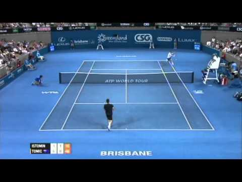 Denis Istomin v Bernard Tomic Highlights Men's Singles Quarter Final: Brisbane International 2012