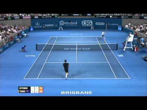 Denis Istomin v Bernard Tomic Highlights Men's Singles Quarter Final: Brisbane International 2012