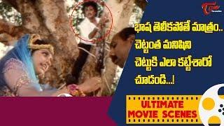 భాష తెలీకపోతే మాత్రం.. చెట్టుకి ఎలా కట్టేశారో. | Rajinikanth, Meena Ultimate Movie Scene | TeluguOne - TELUGUONE