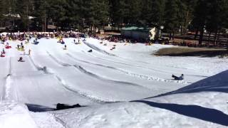 Students sled in Big Bear snow