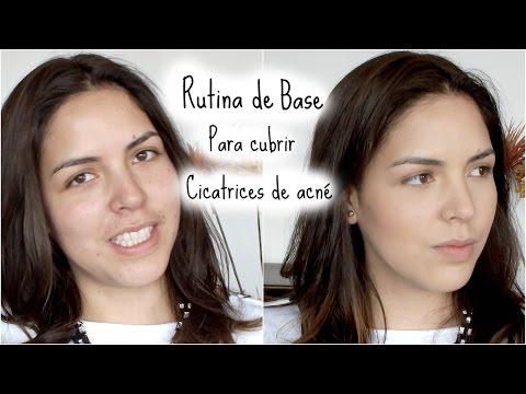 Rutina de base de maquillaje de día para cubrir cicatrices de acné (piel grasa)