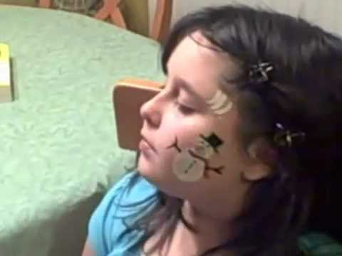 Snowman Cheek Art Christmas Face Painting | Marvelous Masks Chicago Face Painter