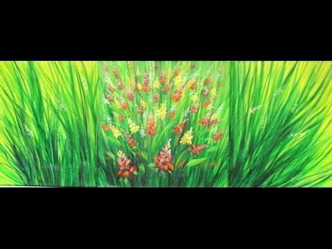 Como pintar un cuadro con pinturas acrilicas -  Triptico - Ramas y Flores - Ana Gjurinovich