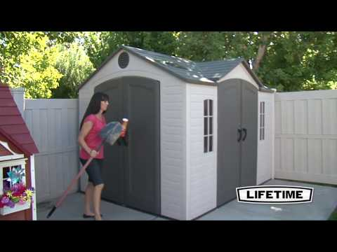 10 x 8 ft Outdoor Storage Shed with Double Doors Front and Side