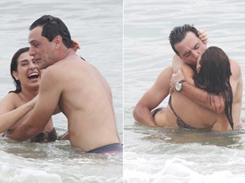 Fernanda Paes Leme e Rodrigo Lombardi se beijam em gravação de Salve Jorge