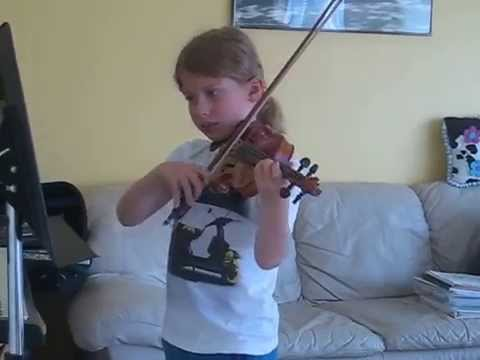 8yo G plays Mozart, Easy Violin Duets, #2.