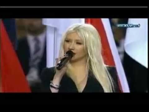 (EXCLUSIVE) CHRISTINA AGUILERA- STAR SPANGLED BANNER-SUPER BOWL 2011 HQ