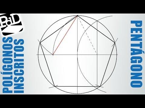 Pentágono regular inscrito en una circunferencia (Polígonos regulares cicunscritos).