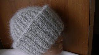Вязание объемной шапки из мохера с двойным отворотом.Knitting hats mohair volume with double lapel