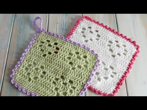How to Crochet a Heart Filet Wash Cloth