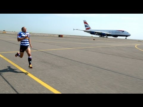 South African Rugby Player Races Plane