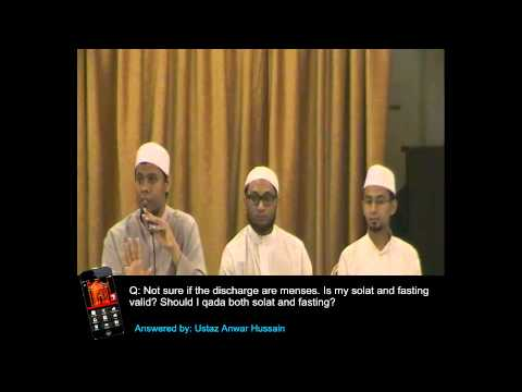 Ask Ustaz - Q&A: Not sure if it's menses. Should I qada Solat and Fasting by Ustaz Anwar Hussain