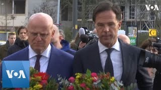 Dutch Prime Minister Rutte Visits Utrecht Shooting site, Lays Flowers - VOAVIDEO