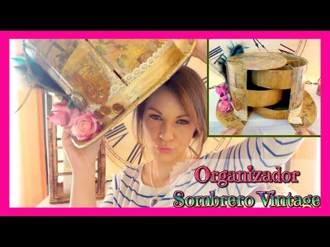 Organizador de cartón en forma de sombrero de copa vintage. Manualidades fáciles