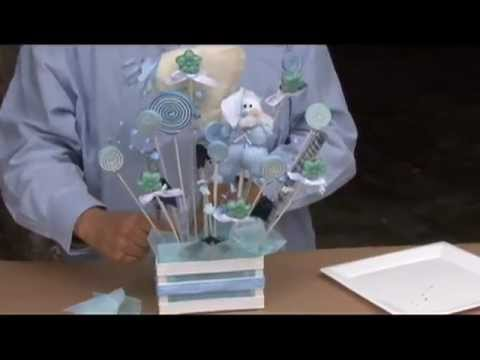 Como hacer un centro de mesa para baby shower con caramelo de fomy