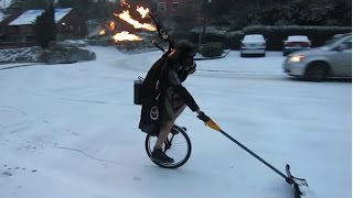 Unipiper Plays Flaming Bagpipes on a Unicycle in the Snow | ABC News - ABCNEWS