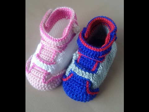 zapatillas crochet  en todos los tamaños with subitles in several lenguage