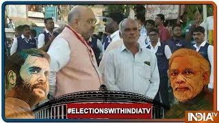 Lok Sabha Elections 2019: BJP chief Amit Shah at a polling booth in Ranip in Ahmedabad - INDIATV
