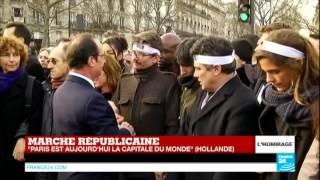 الرئيس الفرنسي يقدم التعازي لاسر ضحايا حادث ''شارل ايبدو''