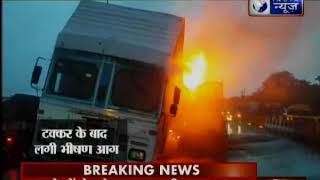 गुजरात में भीषण सड़क हादसा, टक्कर के बाद कंटेनर में आग लगी - ITVNEWSINDIA