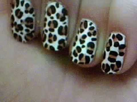 Easy Leopard print nail art! for beginners.