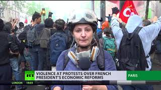 Police use tear gas, protesters throw stones as anti-Macron rally turns violent in Paris - RUSSIATODAY