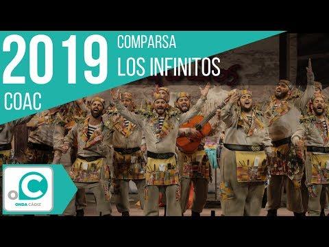 La agrupación Los infinitos llega al COAC 2019 en la modalidad de Comparsas. En años anteriores (2018) concursaron en el Teatro Falla como El almacén, consiguiendo una clasificación en el concurso de Preliminares.