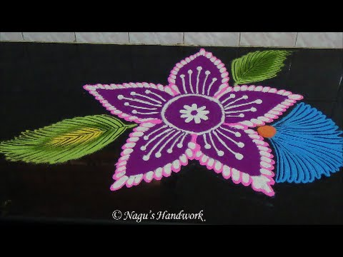 Flower Rangoli Design-Kolam Design-Rangoli Design with Colors By Nagu's Handwork
