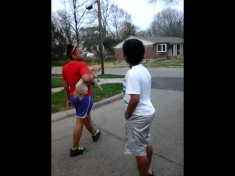 Girl and boy fight