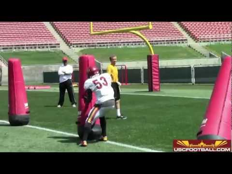 USC Coliseum Scrimmage - Defensive line drills 4/6/13