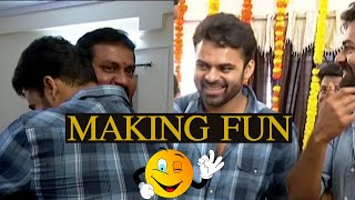 Sunil and Sai Dharam Tej Making Super Fun @ Colour Photo Movie Opening | TFPC - TFPC