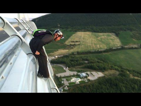 Wingsuiting off a bridge