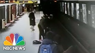 Teen Leaps Off Train Platform, Saves Toddler From Tracks In Milan | NBC News - NBCNEWS