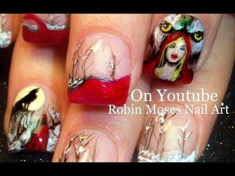 3 Nail Art Tutorials   DIY Halloween Nail designs   Little Red Riding Hood