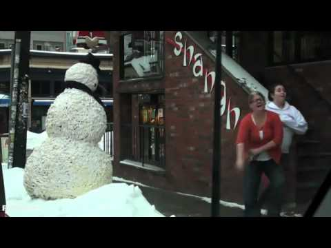 Moving Snowman Scare Prank - just for laughs 2011 new episodes