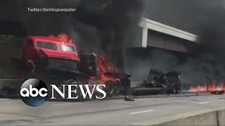 Fiery crash snarls traffic in Kansas City, Missouri - ABCNEWS