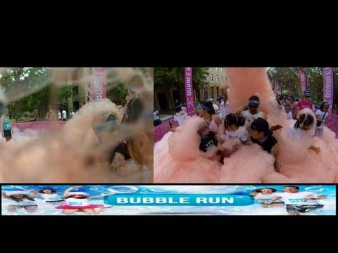 Bubble Run 5k Bubbles Only 2013! Colored Bubbles!! Dual Cams, Split Screen, GoPro 3 HD, Irvine LA