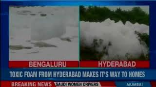 Open drain in Hyderabad spews toxic foam; frustrated residents struggle their way - NEWSXLIVE