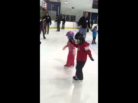 Sonechka and Dania's skating lesson