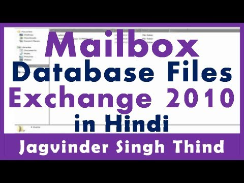 Exchange Server 2010 Part 21 Mailbox Server 3 Exchange Database File Types Hindi by JagvinderThind