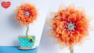 Георгин из Органзы . Подарочный Топиарий-магнит / Dahlia organza . Gift Topiary-Magnet