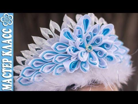 """Корона Канзаши """"Голубые спирали"""", своими руками / DIY Kanzashi"""