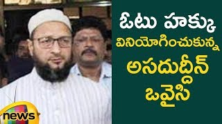 Asaduddin Owaisi Cast His Vote | #TelanganaElections2018 | Mango News - MANGONEWS