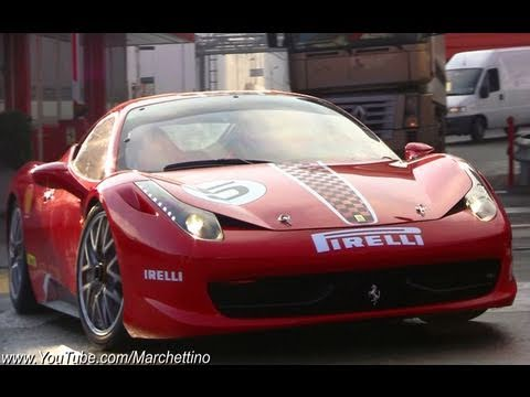 Ferrari 458 Challenge LOUD Sound on the Road !!