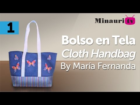Bolso en Tela By María Fernanda (B1/2) ( Fabric hand made Tote / Bags / Purses / Handbags / Wallet )