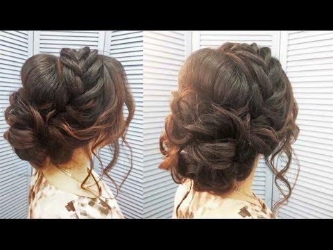 Прически плетение на средние волосы на выпускной