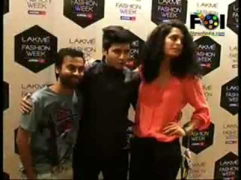 Actors Sameera Reddy, Aditya Singh Rajput, Sonal Chauhan, Pitobash at Lakme Fashion Week.